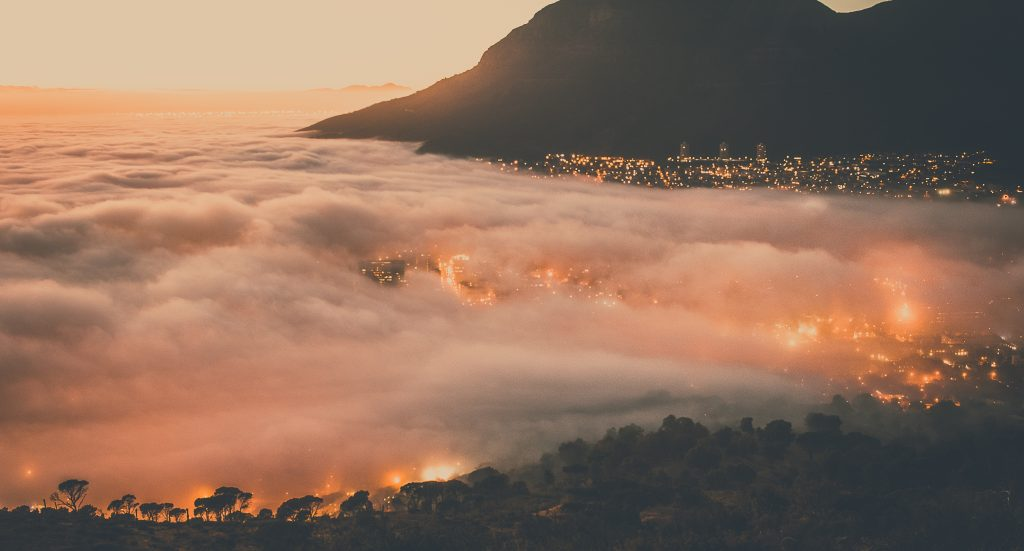 cape town at sunset with clouds - african tours